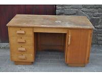 vintage retro beech knee hole desk teachers desk reclaimed