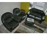 Green real leather SOFA with 2 chairs and footstool