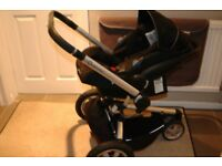 RECARO car seat with the ISOFIX base, adaptors, QUINNY pram