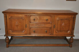 Antique Victorian Solid Oak Sideboard with 3 drawers & 2 cupboards