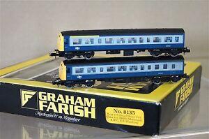 GRAHAM-FARISH-8135-LAToN-ENGRANAJES-BR-AZUL-GRIS-CLASE-101-DMBS-2-COCHE-JUEGO