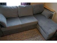 Blue popup sofa bed