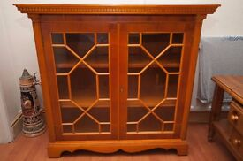 DIsplay Book Case with glass front doors, in Cherry Wood