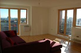 Spacious 2 bed/2 bath with views of city centre and Canary Wharf. Flat screenTV. Balcony. Parking.E2