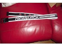 "NEW MEN'S ""CROSSHATCH"" BLACK/WHITE CANVAS BELT WAIST 34"""