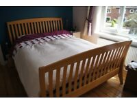 Attractive beech king size bed frame
