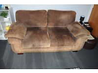 Cloth Sofa with faux leather trim, seats 3