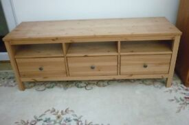 Large Pine TV Entertainment Unit - 148cm Long - 3 Drawers