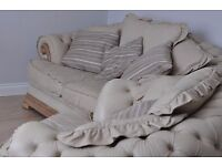 Chesterfield cream leather set