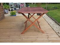 Wooden patio table.
