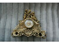 Old Antique Vintage French Style Girl & Boy Solid Brass Mantel Clock Case Only