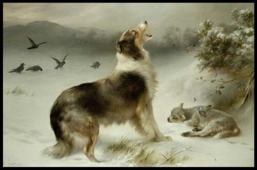 HoofPrints Found Collie Dog & Lamb Ready to Hang Plaque by Walter Hunt