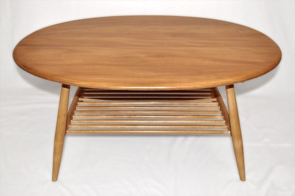 Vintage Retro 60 S Ercol Windsor Oval Coffee Table With Magazine Rack As New Fully