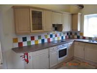 Used kithen units, built in oven, fridge and sink.