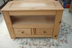 Pine TV Unit with 2 drawers