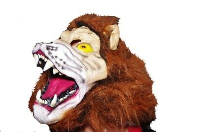 Adult Mens Womens Zoo Animal Scary Mean LION Halloween MASK Wig Spooky Cat NEW