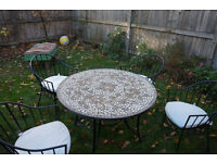 Mosaic Patio Table with 4 Chairs w cushions