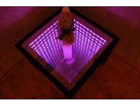 MODERN LED 3D COFFEE TABLE 55x55cm MIRROR - GLASS TOP WITH SOUND SENSORS - High quality