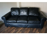 Black Leather Three Seater Sofa-will consider offeres