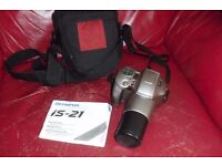 OLYMPUS IS-21 FILM CAMERA WITH GLASS ASPHERICAL LENS WITH 28-110 HIGH RESOLUTION