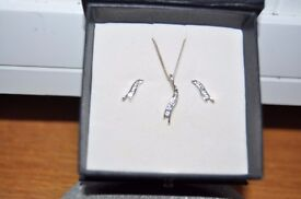 Sterling silver necklace and ear rings