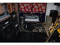 Huge lot of music equipment, Guitars, amps, drums, mixing desk, microphones, midi keyboards etc