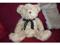 """""""DAVID EMANUEL"""" NEW BEIGE TEDDY BEAR WITH HIS NAME PRINTED ON THE PAW UNDERNEATH"""