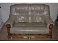 Curved wood leather sofa