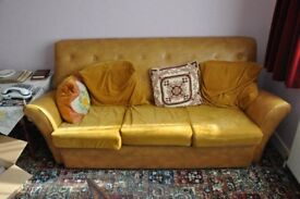 Vintage Yellow Sofa and Two Chairs 1970s
