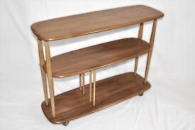 Vintage Retro 60's Ercol Windsor Bookcase / Shelving Unit / Trolley / Divider - As New - Renovated