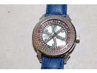 New Mens Aqua Ice Master Diamond Roulette Casino Wheel watch real genuine luxury blue iced jojo
