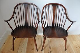 Set of 2 vintage retro 60's Ercol ercol windsor bow armchairs (model 514)