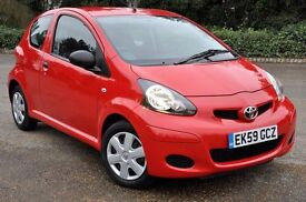 2009 Toyota AYGO 1.0 VVT-i 3dr+FREE WARRANTY+ VERY LOW GENUINE MILEAGE+2 STAMPS FROM TOYOTA+LONG MOT