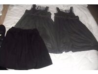 GIRLS SCHOOL UNIFORM AGE 7-8 BLACK SKIRT + AGE 8-9 YEARS 2 X PINAFORES