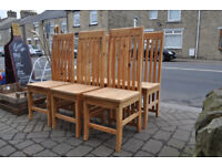 set of 6 solid pine mexican pine farmhouse tall back dining chairs