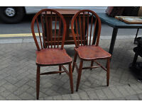 pair of vintage ercol elm dining chairs
