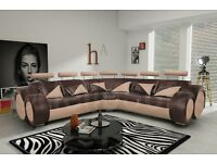 Fabulous BRAND NEW brown and beige leather corner sofa.car shape with headrests.can deliver