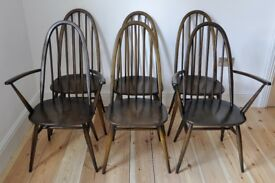 Set of 6 vintage retro 60's Ercol ercol windsor quaker chairs (mdl 365 and 365A)