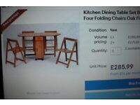 Oval Kitchen Dining Table Set Butterfly Drop Leaf 4 Folding Chairs space saving, Castors