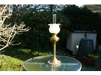oil lamp, retro brass tall oil lamp with original shade and funnel