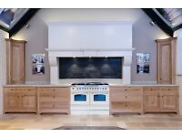 Ex Display Bespoke Solid Oak Part Kitchen with Kashmir White Granite Worktops