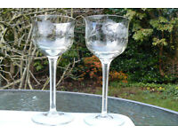Antique wine glasses x 2, very prettily etched and a lovely shape on tall stems.