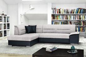 VERTO leather & fabric L- shape Corner Sofa Bed Black Grey Brown White Beige