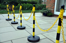Plastic posts, black & yellow, free-standing, 87 cm high, price is for 5 posts.