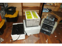 4 USED PRINTERS HP 2 OFF AND 1 BROTHER PRINTER AND 1 BOX NEW EPSON