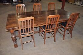Large 8ft Refectory type Dining table and six chairs