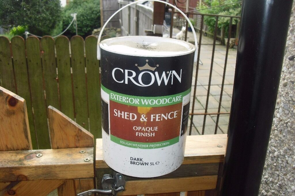 Crown Exterior Woodcare Shed Fence Opaque Finish Dark Brown Paint 5l Tin