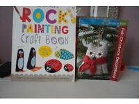 Christmas Felt Decorations and Rock Painting craft books (in very good condition)