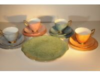 Vintage Tea Set. Thirteen Piece Early Design Royal Albert Gossamer Marbled Harlequin Bone China. VGC