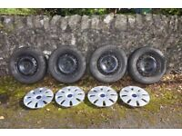 Set of 4 Ford Winter Wheels, Tyres, Wheel Trims and Wheel Nuts - PRICE REDUCED